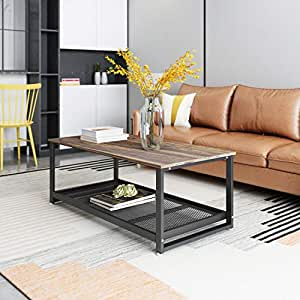 """Rustic Coffee Table, Rectangular Center Table with Storage Shelf,  Industrial Modern 47"""" Table for Living Room, Wood Look Accent Furniture  with Metal ..."""