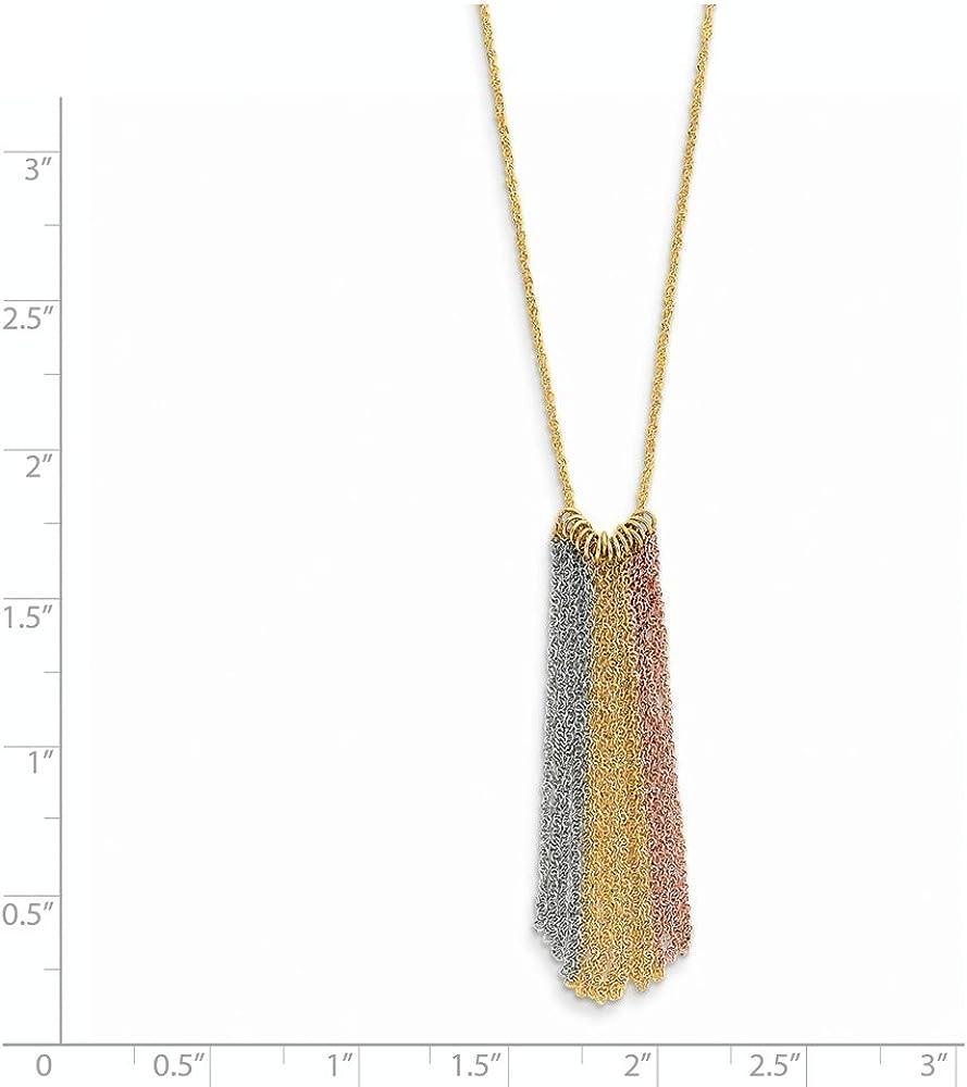 14k Tri-Color Gold Dangle Chain Necklace 16inch
