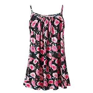 WOCACHI Women Plus Size Tank Tops Boho Floral Sleeveless Vest Blouse Camis S-6XL Girlfriend Gift Under 5 10 Fashion Newest Surprise