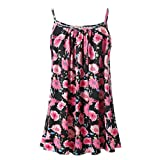 Women's Cami Top Summer Casual Printed Sleeveless Vest Blouse Tank Tops Camisole Tunic Top Black