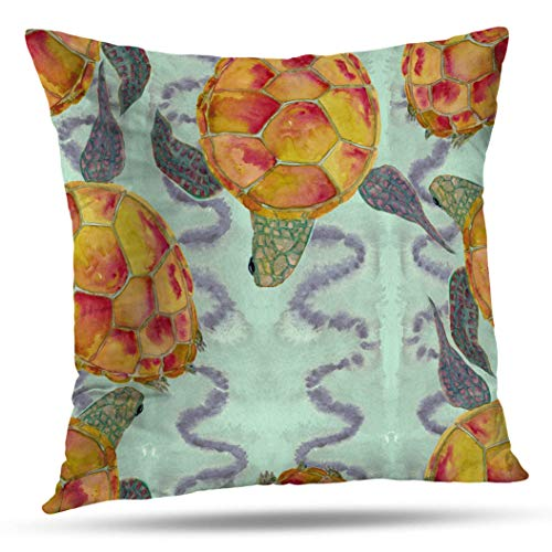 Geericy Sea Turtle Watercolor Throw Pillow Covers, Wa Pa nt ng llust on of s H Made Mar ne mless Pat n A ful Backg for r Des gn of Post ds Text les Paper Cushion Cover 18X18 Inch for Bedroom Sofa -