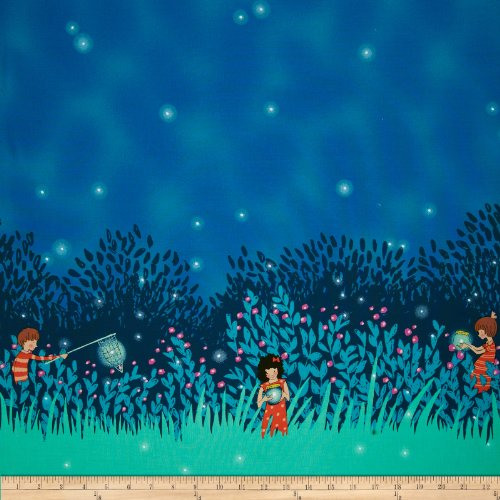 Michael Miller Wee Prowl Summer Night Lights Double Border Twilight Fabric By The Yard