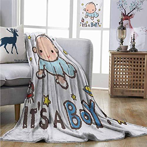 Standard Charisma Metal - Homrkey Cozy Blanket Gender Reveal Little Baby Boy Smiling with Stars Rocket Space Kids Artistic Cartoon Style Charisma Blanket W70 xL93 Multicolor