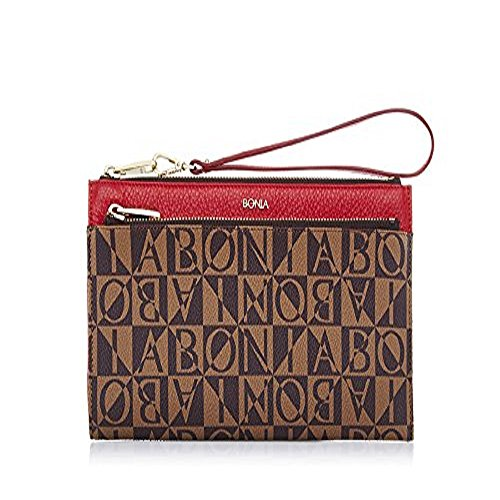 bonia-womans-red-monogram-pouch