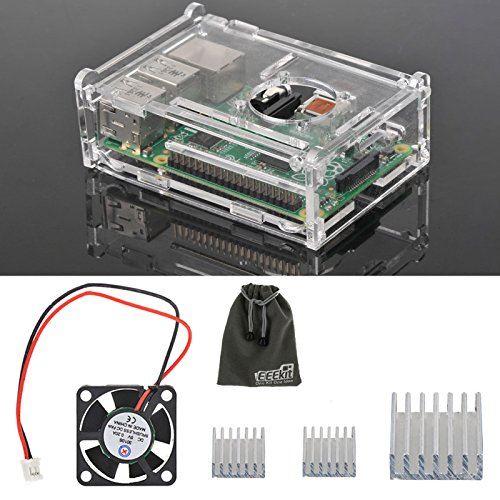 EEEKit 3-in-1 Accessories Kit for Raspberry Pi 3 Model B, Pi 2 Model B, Pi Model B+,Clear Protective Housing Box Cover Case + Cooling Fan + 3 Pcs Heatsinks (Inch Case Fan 3 Computer)