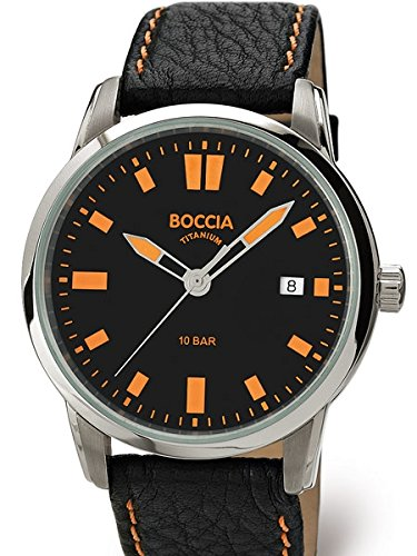 Boccia Mens Quartz Sport Watch with 41mm Titanium Case and Black Leather Strap 3573-01