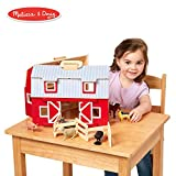 Melissa & Doug Wooden Fold & Go Barn, Animal & People Play Set, Promotes Imaginative Play, 7 Animal Play Figures, 11.25' H x 13.5' W x 4.7' L