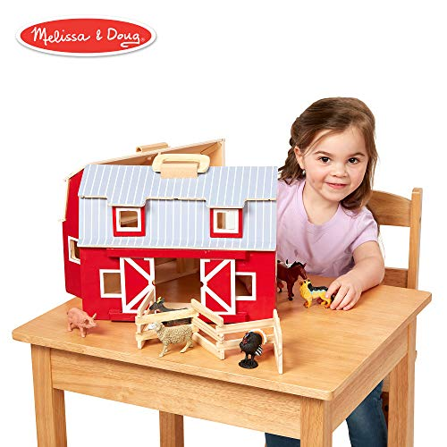 Melissa & Doug Wooden Fold & Go Barn, Animal & People Play Set, Promotes Imaginative Play, 7 Animal Play Figures, 11.25