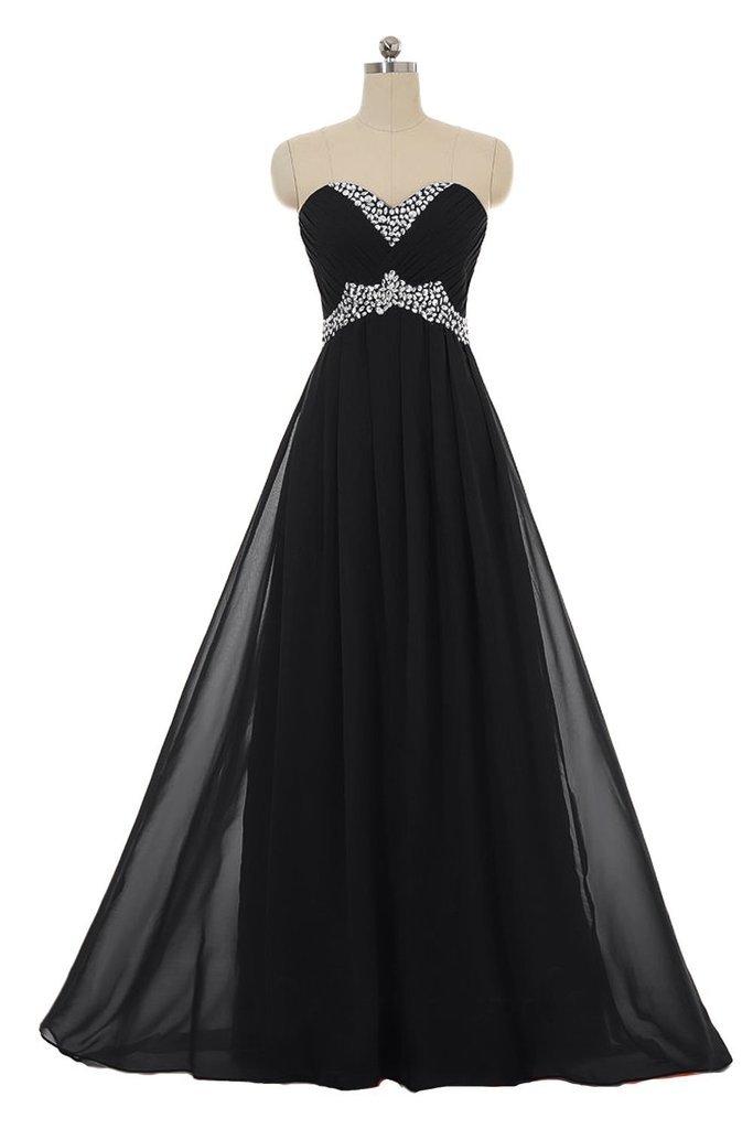 Snowskite Sweetheart Long Chiffon Beading Holiday Party Formal Prom Dress Black 8