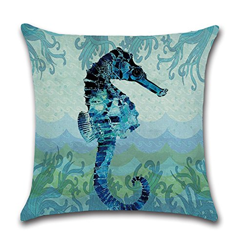 Royalours Cotton Linen Throw Pillow Covers Ocean Marine Animal Set Outdoor Decorative Pillow Cases Cushion Cover for Home Sofa Office 18''x 18'' (Blue Ocean Style) by Royalours (Image #2)