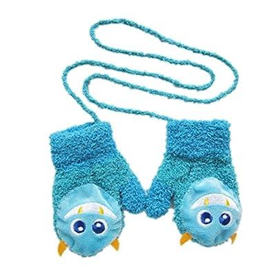 buyhere Unisexe Bébé Gants en polaire Coral avec pochette cartoon Chauve-souris