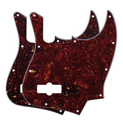 FLEOR 4Ply Jazz Bass Pickguard 10 Hole Scratch Plate for 4 Strings USA/Mexican Standard Jazz Bass Modern Style Standard, 2pcs Red & Brown Tortoise
