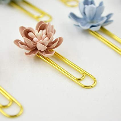 Amazon lessonmart style 4 piecesbox hand working flower lessonmart style 4 piecesbox hand working flower decoration paper clips cute metal bookmarks notebook mightylinksfo