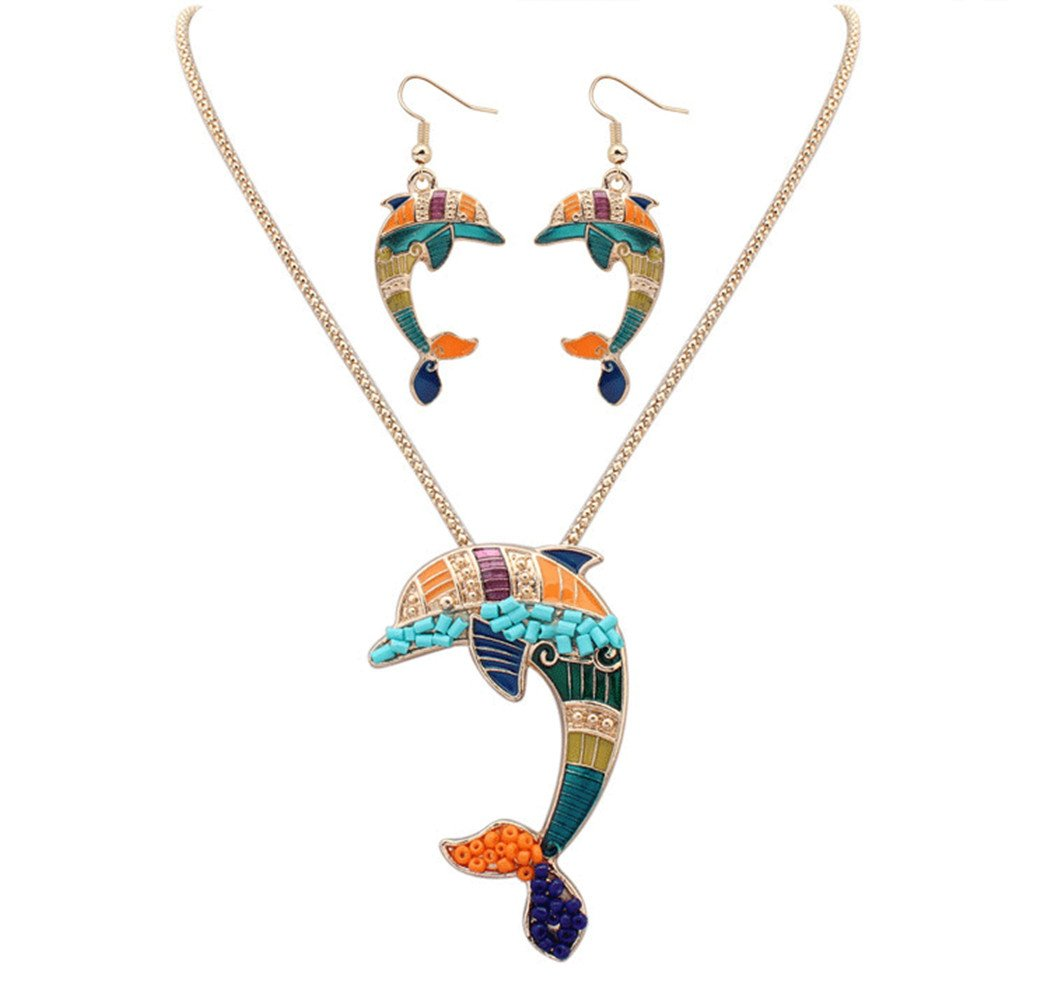 YJEdward Fashion Lovely Dolphin Jewelry Set Necklace Earrings Wedding Mother Gift 2 Pcs