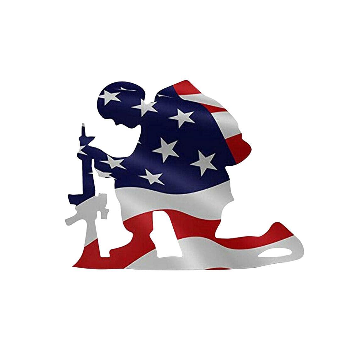 Independence Day Decoration American Flag Kneeling Soldier Weathered Flag Metal Art Garden Decoration, Veterans Day Memorial Day Decoration for Garden & Outdoor