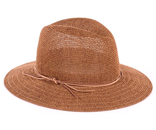 BYOS Fashion Boho Summer Straw Panama Fedora Sun Hat Wide Brim, Various Styles (Faux Suede Double Skinny Band-Nature)