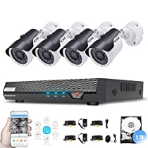 Tecbox 4 Channel 720P Home Security Camera System 2TB Storage DVR with 4 1.3mp Weatherproof CCTV Cameras, 60feet IR LED Night Vision, Motion Detection, Smartphone/PC Remote View