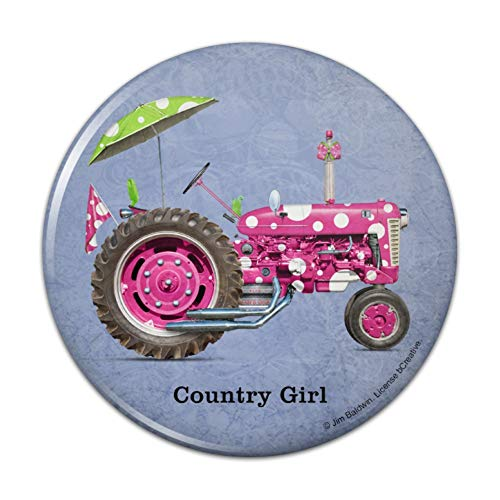 Farm Tractor Country Girl Pink Polka Dot Farming Compact Pocket Purse Hand Cosmetic Makeup Mirror - 3