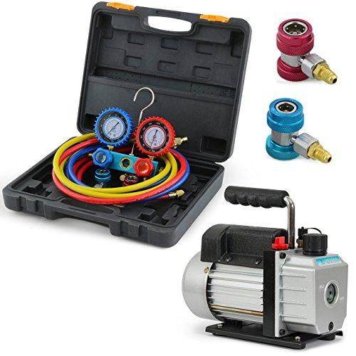 ARKSEN Vacuum Pump (3CFM) 1/3HP Manifold Gauge w/Carrying Case Refrigeration for R134A