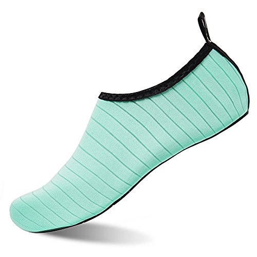 Womens and Mens Water Shoes Barefoot Quick-Dry Aqua Socks for Beach Swim Surf Yoga Exercise (TW.Green, (Play Swim Socks)