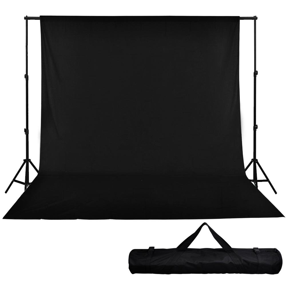 10' Telescopic Support Stand Muslin Backdrop Black Photo Background 20' X 10' by AW