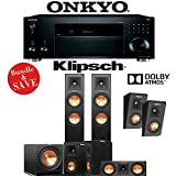 Klipsch RP-250F 5.1.2-Ch Reference Premiere Dolby Atmos Home Theater Speaker System with Onkyo TX-RZ820 7.2-Ch 4K Network AV Receiver
