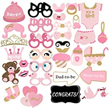 Baby Shower Decorations, PBPBOX 33Pcs Pink and Gold Baby Shower Photo Booth Props for Girl Party Favors Decoration