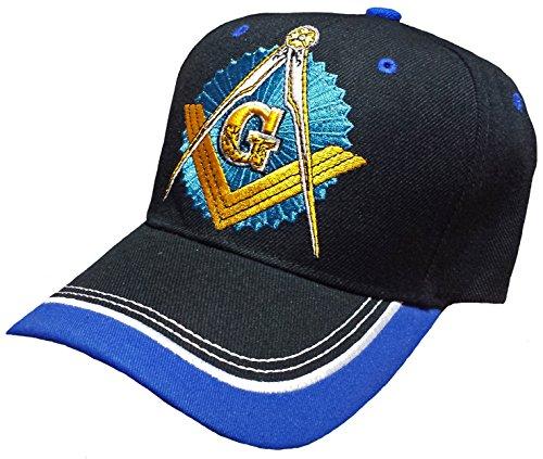 Master Masonic Lodge Cap Black with Royal Blue and White Hat Mason Masonic Lodge Baseball Cap