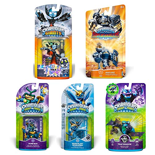 Skylanders SWAP Force & Super Chargers Character Bundle Pack (5): High Volt, Hex, Dune Bug, Trap Shadow, and Horn Blast - Force Swap Whirlwind