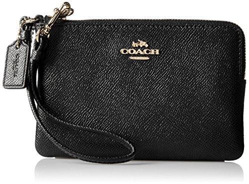 COACH Women's Crossgrain Leather Small Wristlet Li/Black Handbag by Coach