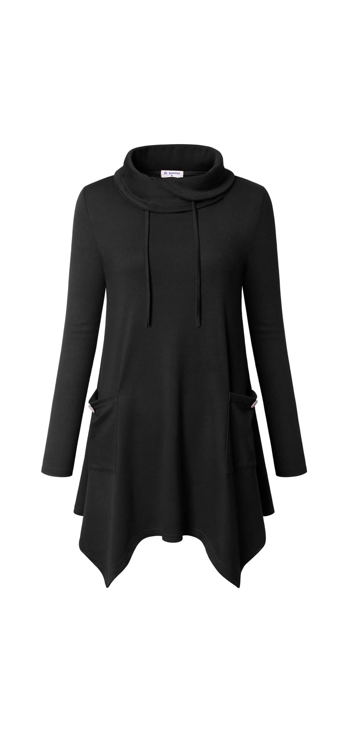 Women's Long Sleeve Cowl Neck Asymmetrical Hem Tunic
