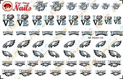 Philadelphia Eagles Waterslide Nail Decals (Tattoos) V1. Set of 59.