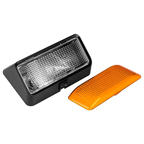 Lumitronics Exterior Porch Light with On/Off Switch and Removable Clear & Amber Lenses.12V Lighting for RVs, Motorhomes, Campers, 5th Wheels, Trailers (Black Base) - Mounting Hardware Included
