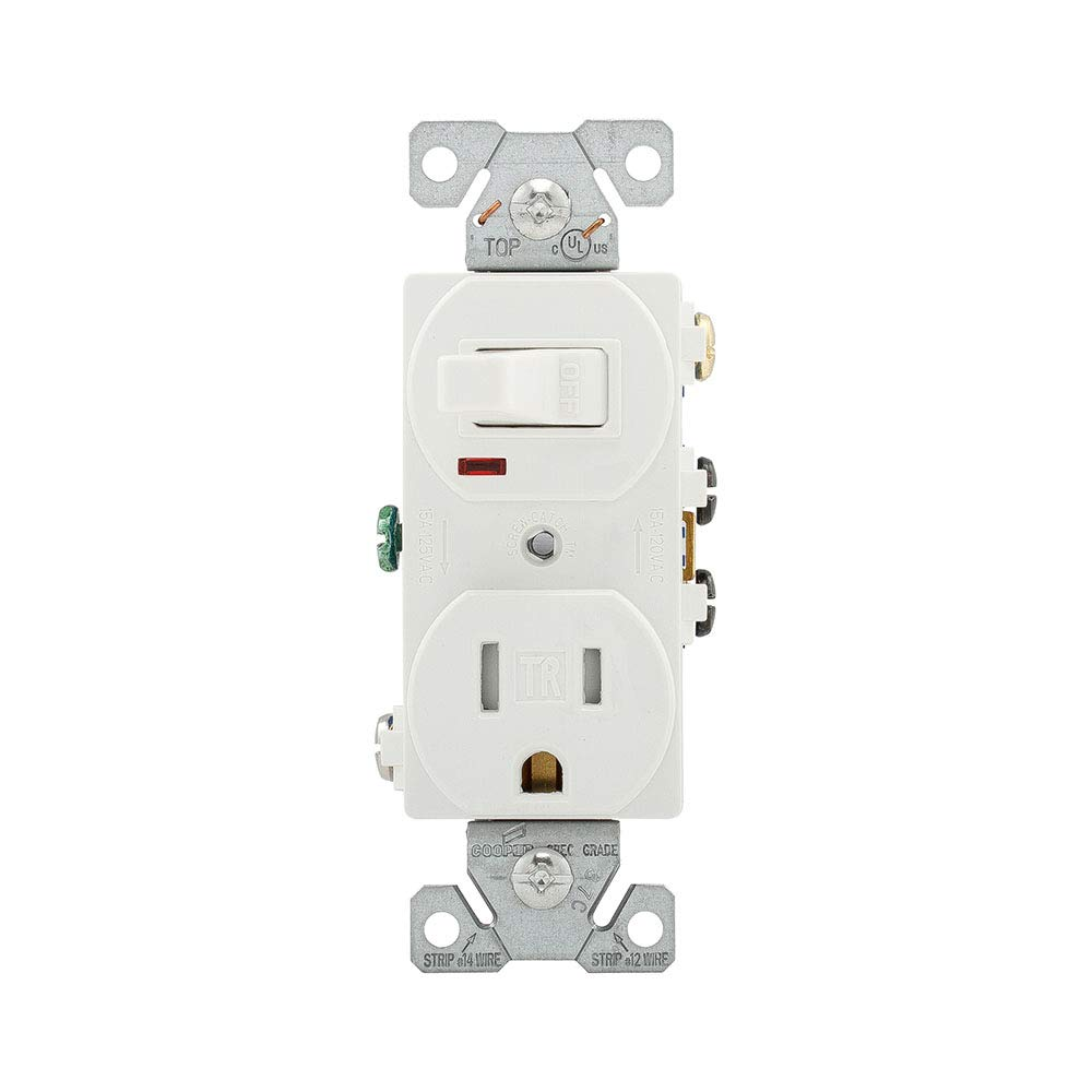 Eaton Tr274w 3 Wire Receptacle Combo Single Pole Switch With Tamper Wiring A Garbage Disposal Diagram Free Download Resistant 2 White Electrical Outlet Switches