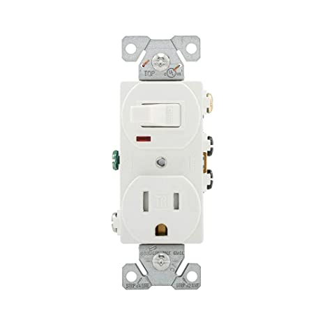 cooper wiring devices tr274w 3-wire receptacle combo single-pole switch  with tamper resistant 2-pole, white, switch plates - amazon canada
