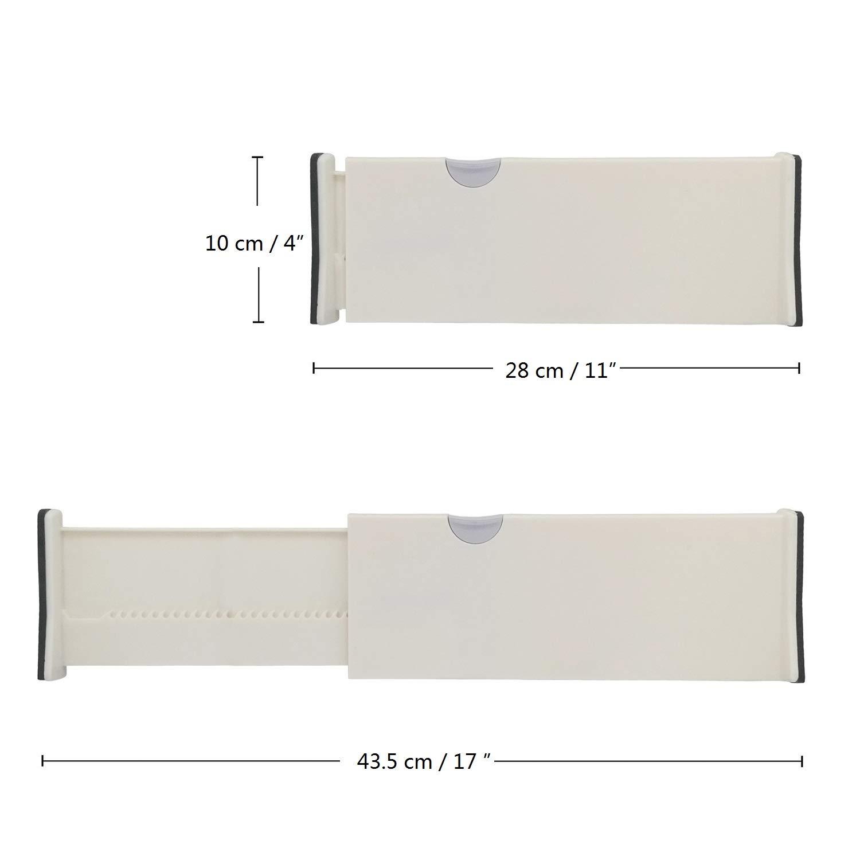 3 Pack, 14/¾-21 Expandable Drawer Organiser Set Adjustable Drawer Dividers Plastic