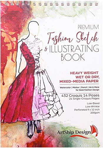 Fashion Sketchbook 432 Figure Templates, Premium Hardcover, Heavy-Weight Multi-Media Paper (9x12 in)