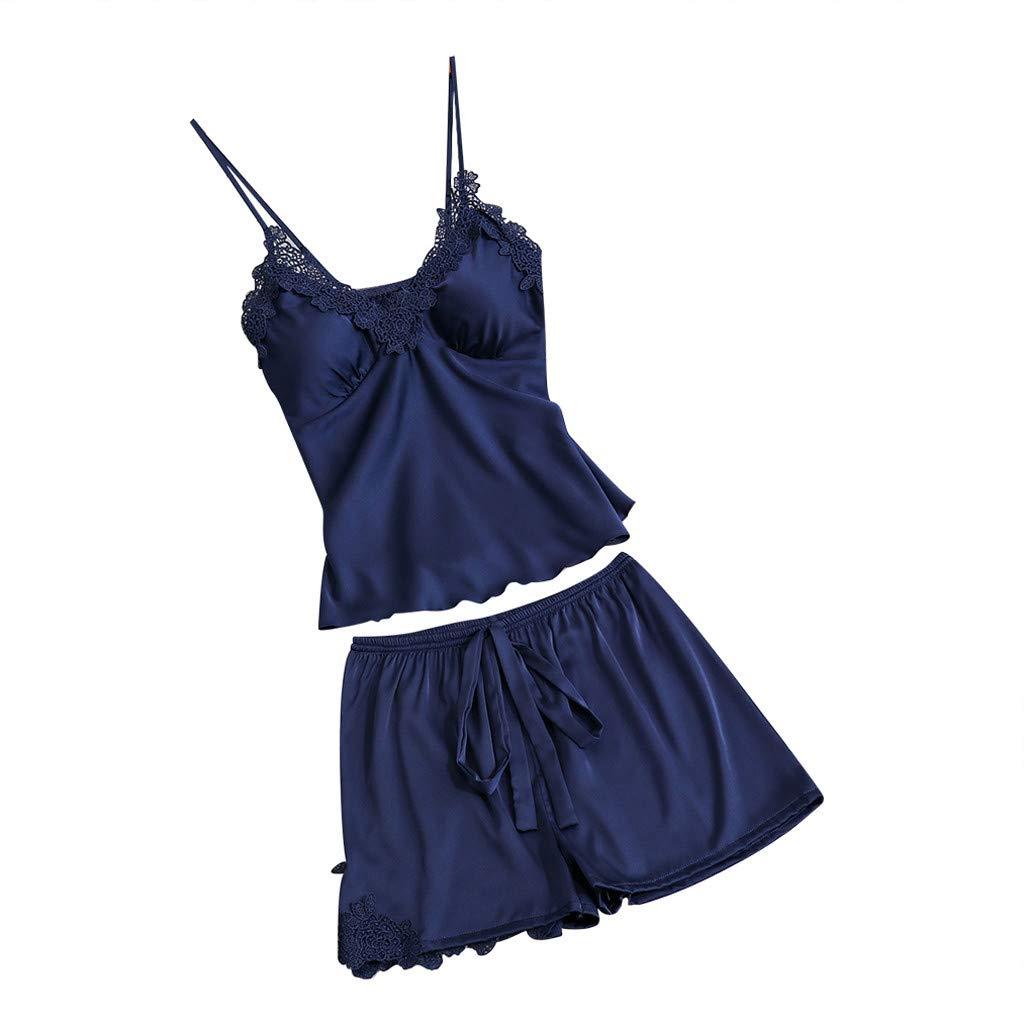 Womens Sleepwear Satin Sling Nightgowns Sleepshirts Lace Bowknot Nightdress Cami Top Pajama Sets (XXL, Navy)