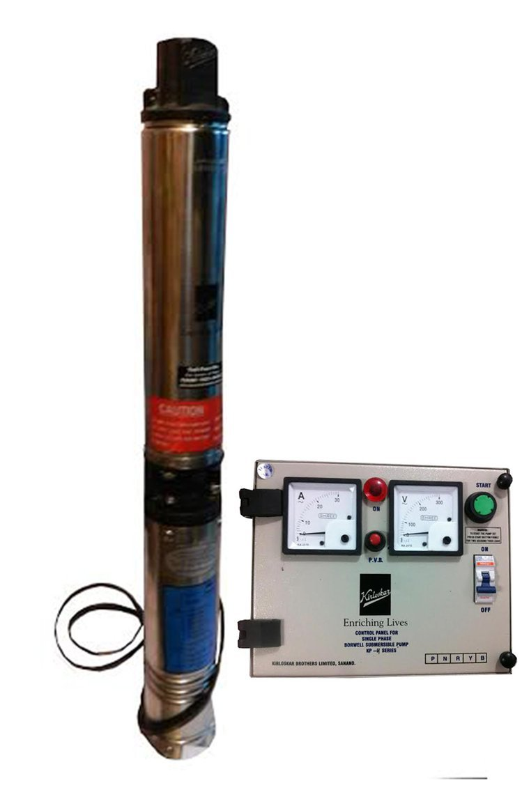 Kirloskar Submersible Pump 1hp With Control Panel Single Phase How Do You Adjust The Pressure Switch On A Well Garden Outdoors