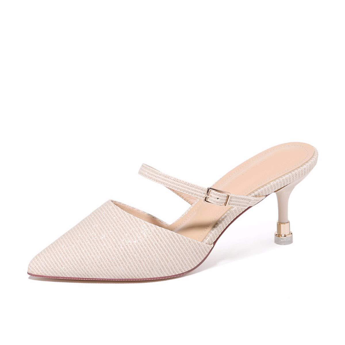 GTVERNH Scarpe da Donna Spesso Il Fondo Forte Pantofole Baotou Semi-Le Pantofole Summer Moda Indossare oroen 36