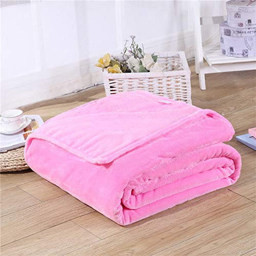 Winter Artifact Solid Black Color Coral Fleece Blanket Warm Sofa Cover Twin Queen Size Flannel Mink Throw Plaid Plane Blankets,Pink,50X70CM(20X28Inches) (Split Pattern Plaid Color)