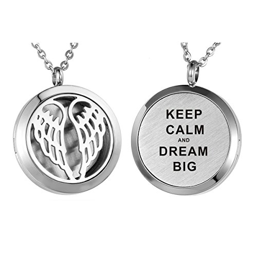 HooAMI Aromatherapy Essential Oil Diffuser Necklace - Keep Calm and Dream Big Angel Wing Locket Pendant