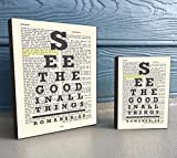 See the Good in all things – Romans 8:28 Vintage Bible verse Scripture Art Print on Wooden Block, Christian Home & Wall Decor Sign, Eyechart Old Dictionary Page, Housewarming – Christmas gift