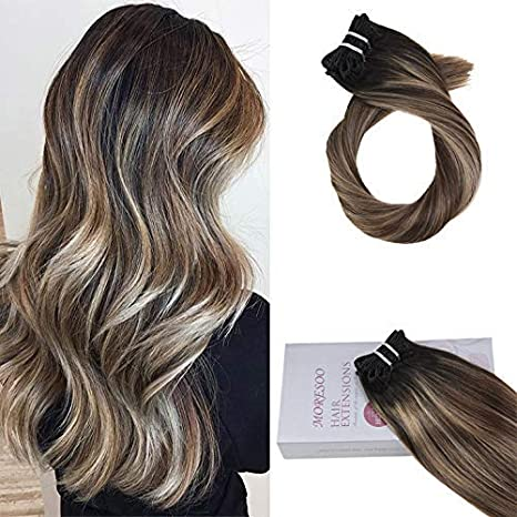 Moresoo 20 Pouces Human Hair Clip In Extensions Balayage Color 1b Off Black Fading To 4 Brown And 14 Golden 9pcs 120g Thick Clip In Extensions