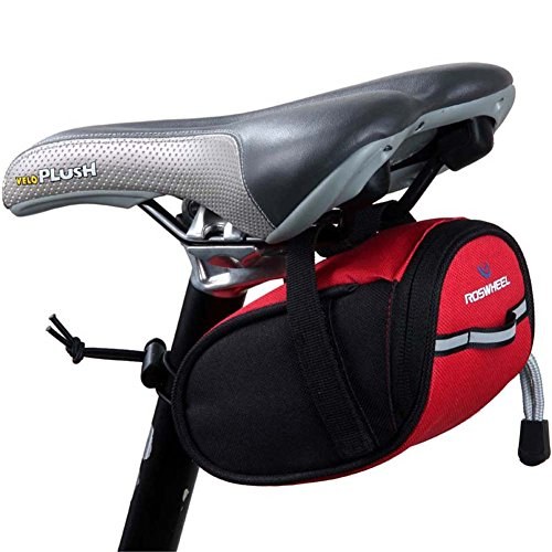 ROSWHEEL Bicycle Bike Cycling Saddle Outdoor Pouch Seat Bag (red)