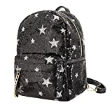 Hermora Fashion PU Leather Shiny Sequins Backpack Purse Leisure Daypack Handbag for Teens and Womens(Black Large)