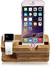 SENHAI Hout [2 in 1] Opladen Dock Stand Station Stock Cradle Houder Beugel Accessoire voor Apple Horloge iWatch 38mm en 42mm & iPhone 5, 5s, 6, iPhone 6 Plus(Bamboe)