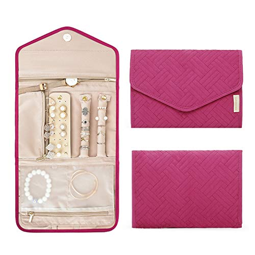 Rose Earrings Bracelets Necklaces BAGSMART Travel Jewellery Organiser Roll Foldable Jewelry Case for Journey-Rings