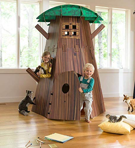 Big Tree Fort Building Kit for Kids - Heavy Duty Cardboard Construction - Indoor Playroom or Classroom - Play Space for Multiple Children - Approx. 7 H x 58 diam. by HearthSong