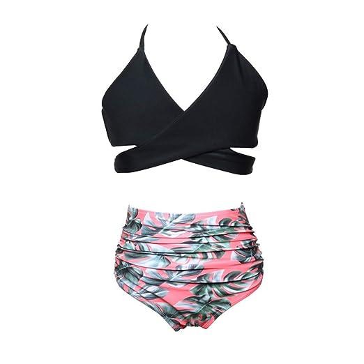 HUXINFEI Bikini Retro Traje de baño niña 2 Piezas Trajes natación ...